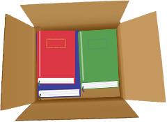 適切な大きさの箱に本が入っている画像